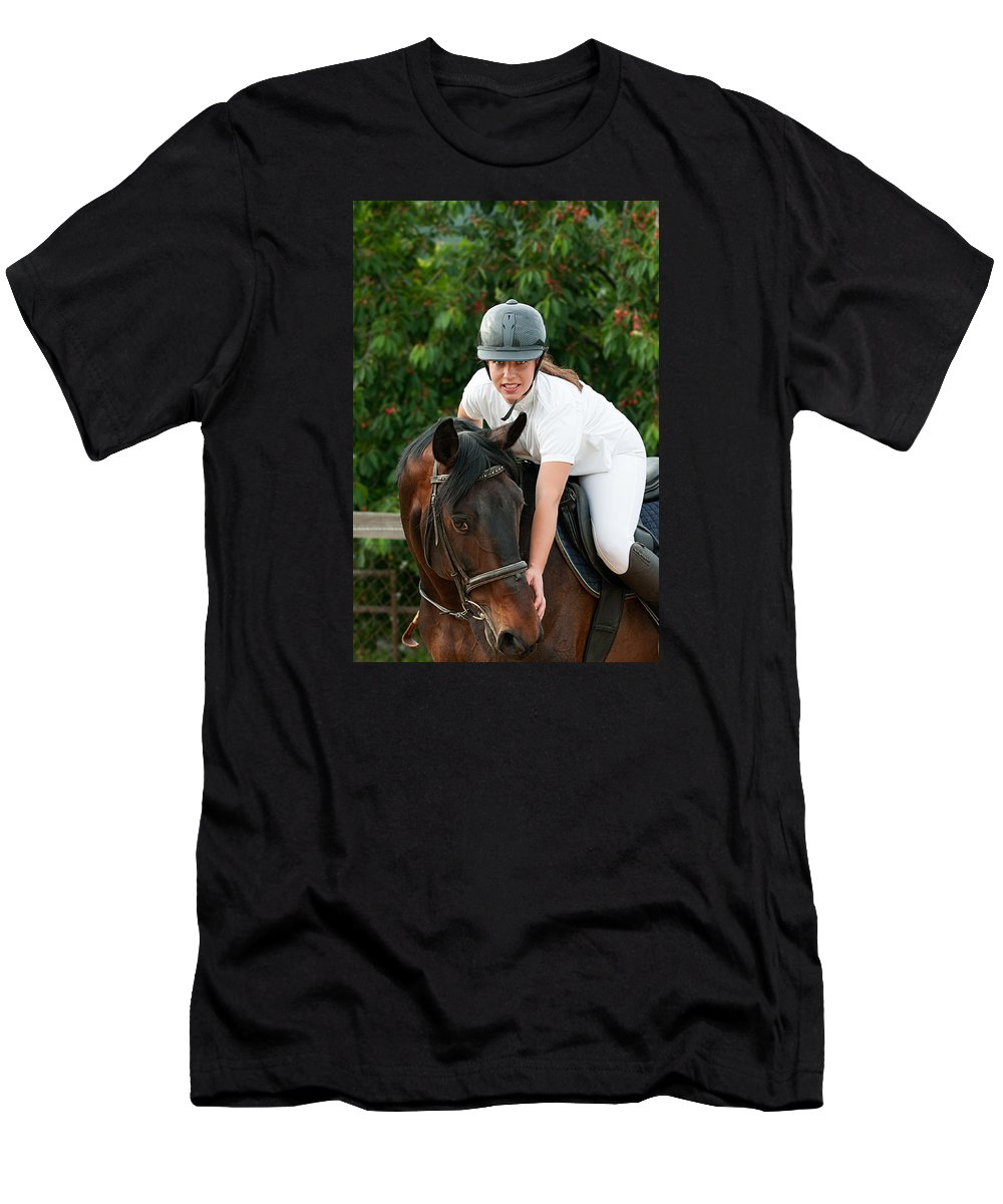 Jockey T-Shirt featuring the photograph Woman Rider And Horse by Boyan Dimitrov