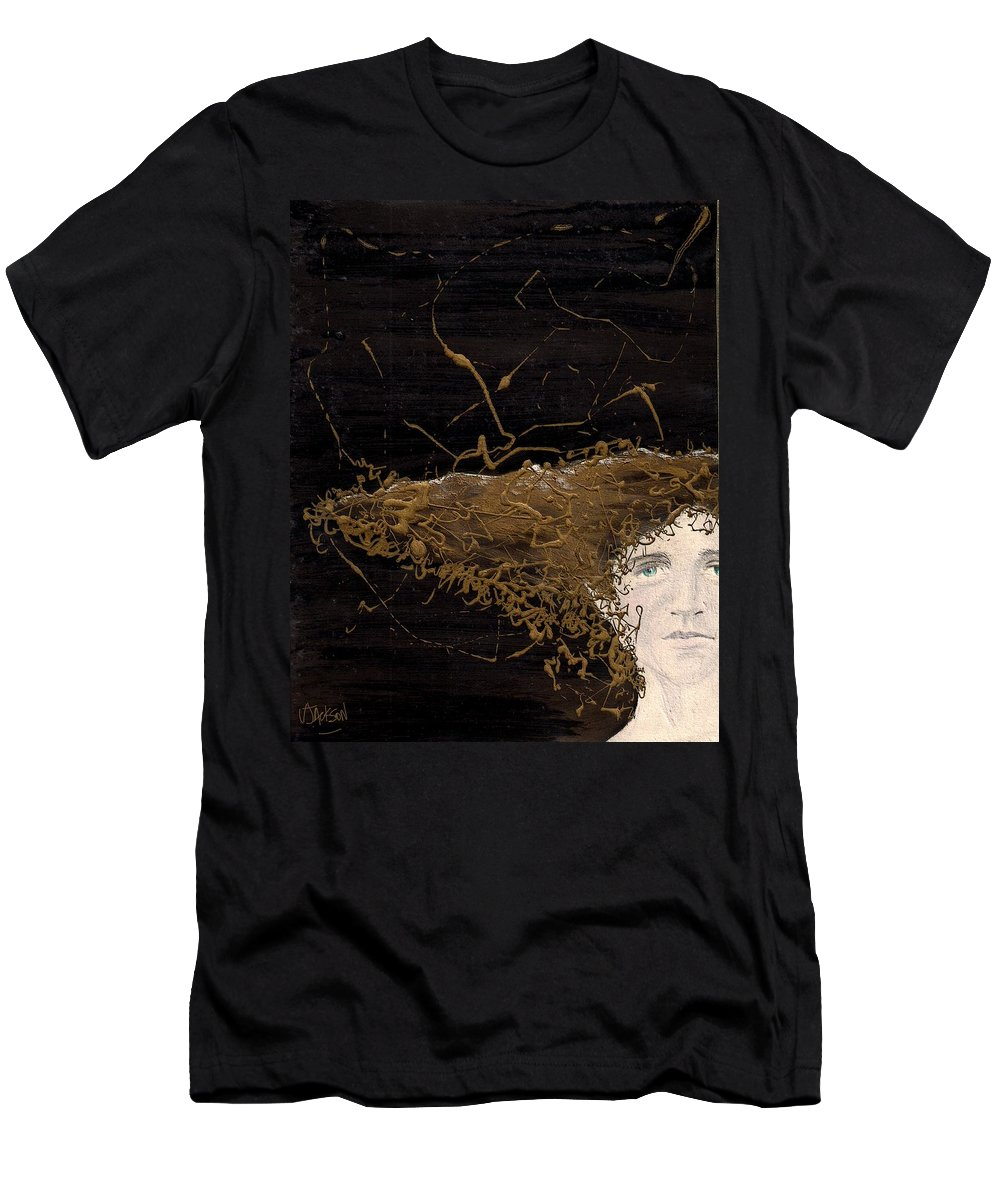 Hair Gold Woman Face Eyes Softness Men's T-Shirt (Athletic Fit) featuring the mixed media Woman With Beautiful Hair by Veronica Jackson