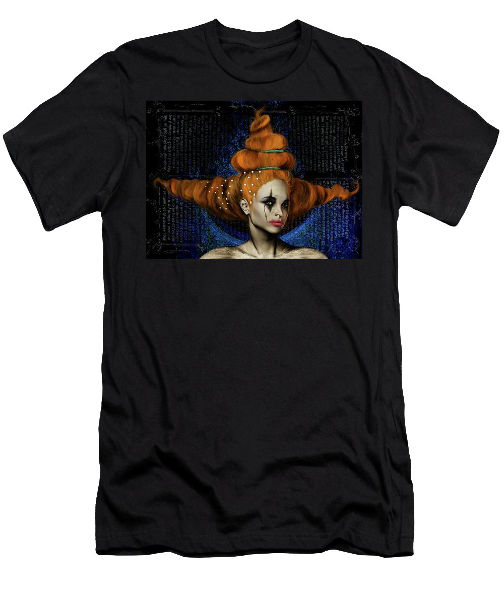Woman Hair Gothic Dark Faces Eyes T-Shirt featuring the digital art Woman with big hair by Veronica Jackson