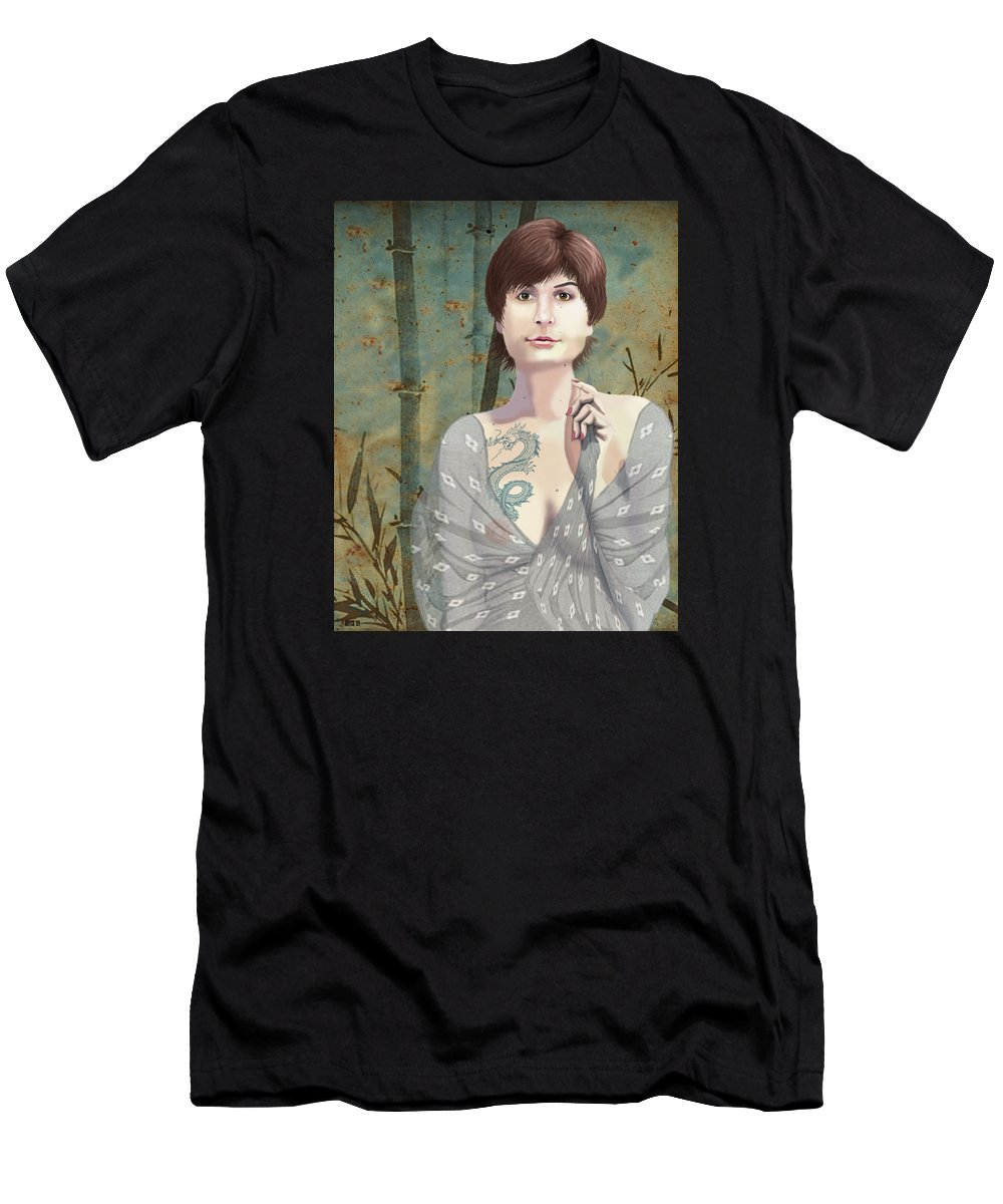 Illustration Men's T-Shirt (Athletic Fit) featuring the digital art Woman With Tattoo by Lois Boyce