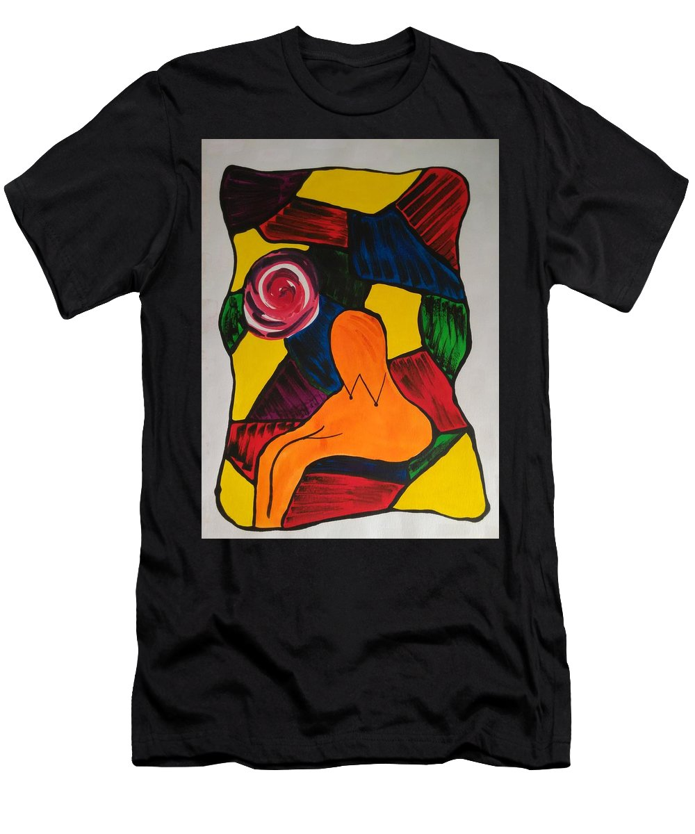 Abstract Men's T-Shirt (Athletic Fit) featuring the painting Women With Flower by Ieva Unda