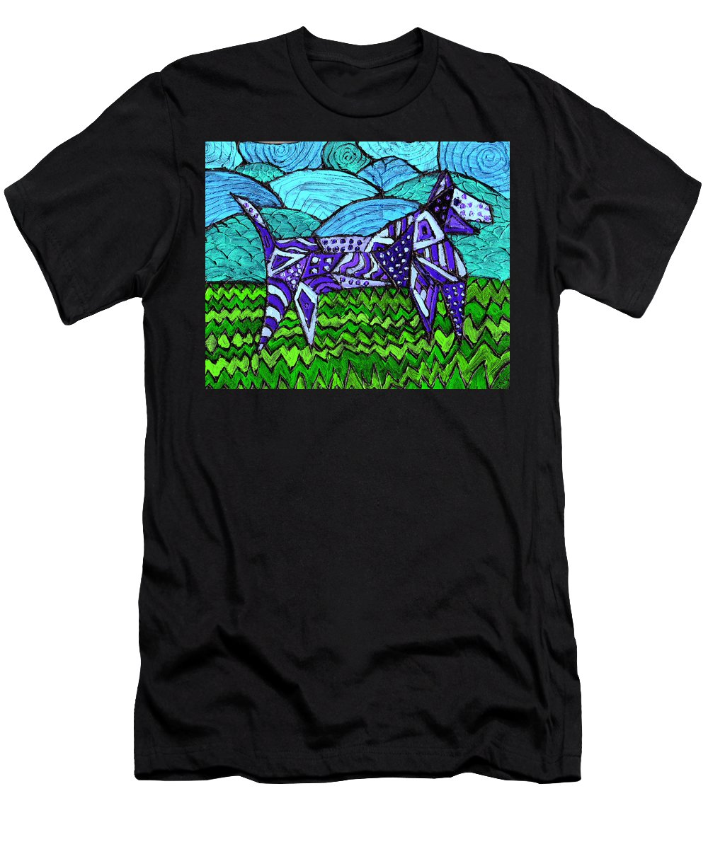 Dog Men's T-Shirt (Athletic Fit) featuring the painting Wonder Dog by Wayne Potrafka