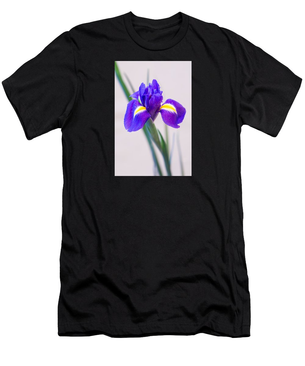 Wonderful Iris With Dew Men's T-Shirt (Athletic Fit) featuring the photograph Wonderful Iris With Dew by Yana Reint
