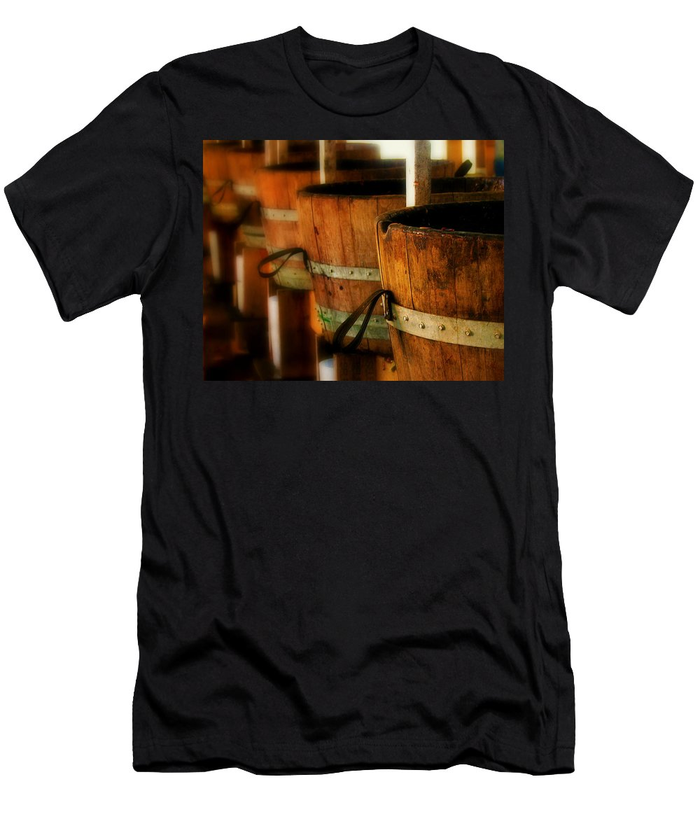 Barrel Men's T-Shirt (Athletic Fit) featuring the photograph Wood Barrels by Perry Webster