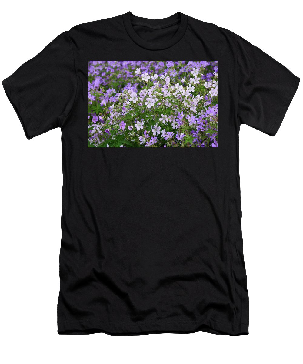 Finland Men's T-Shirt (Athletic Fit) featuring the photograph Wood Cranesbill Field by Jouko Lehto