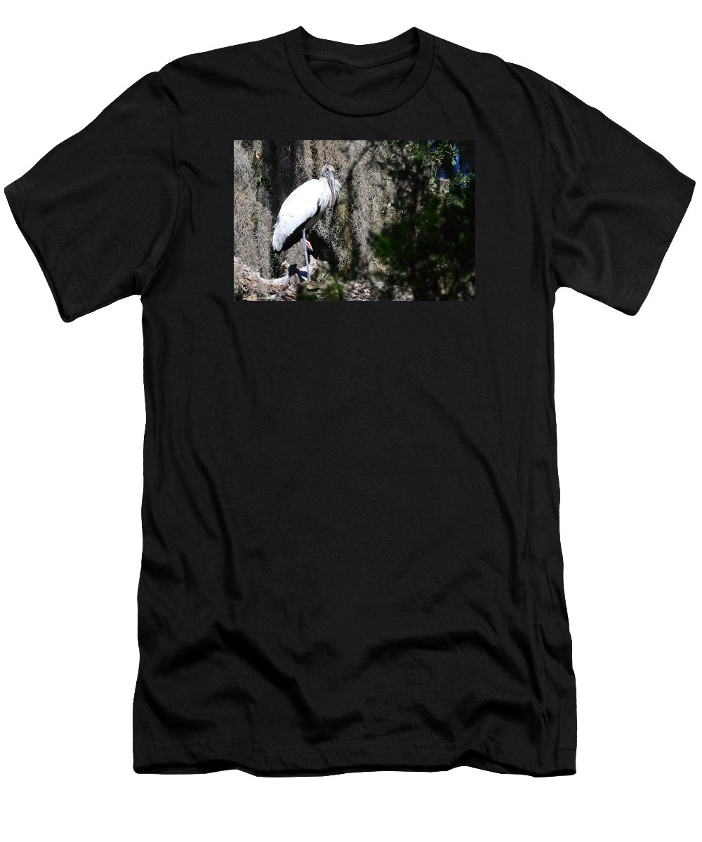 Wood Stork Men's T-Shirt (Athletic Fit) featuring the photograph Wood Stork And Moss by Edwina Hughes