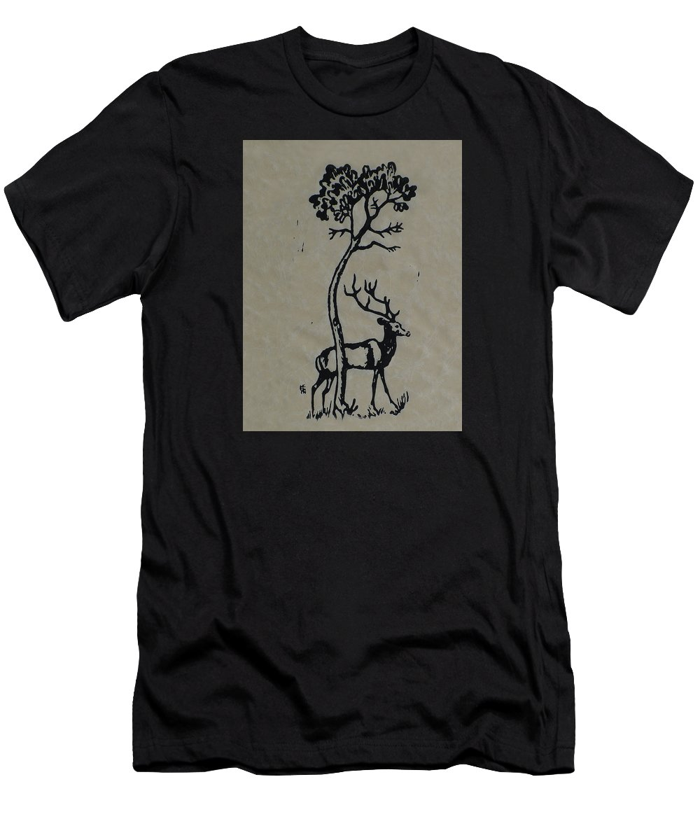Woodcut Men's T-Shirt (Athletic Fit) featuring the mixed media Woodcut Deer by Shirley Heyn