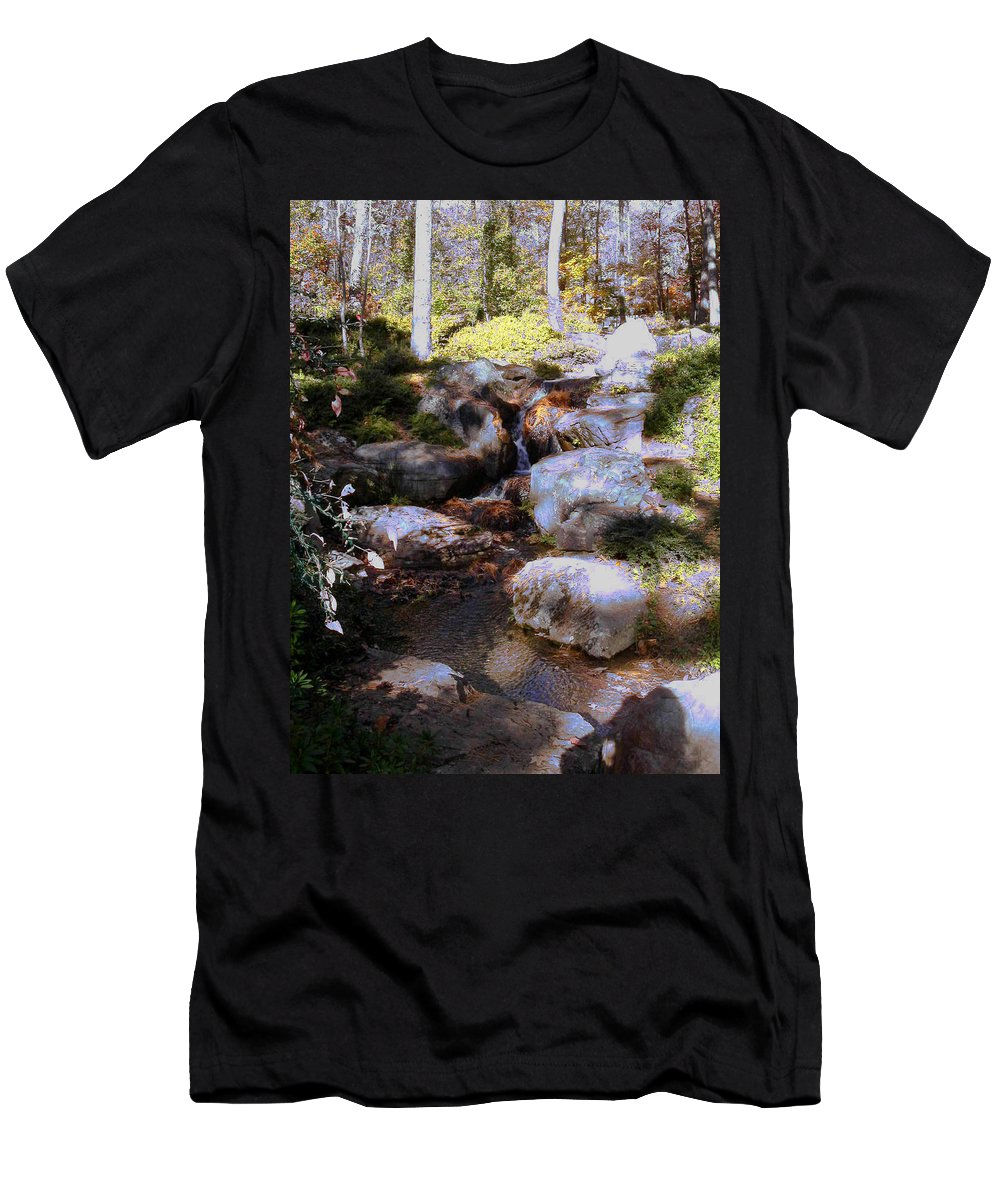 Waterfall Men's T-Shirt (Athletic Fit) featuring the photograph Wooded Blue Brook by Anne Cameron Cutri