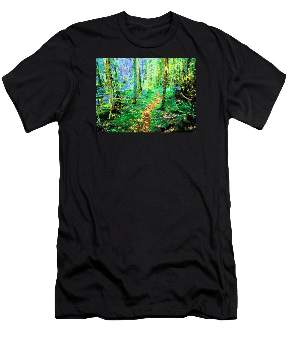 Nature Men's T-Shirt (Athletic Fit) featuring the digital art Wooded Trail by Dave Martsolf