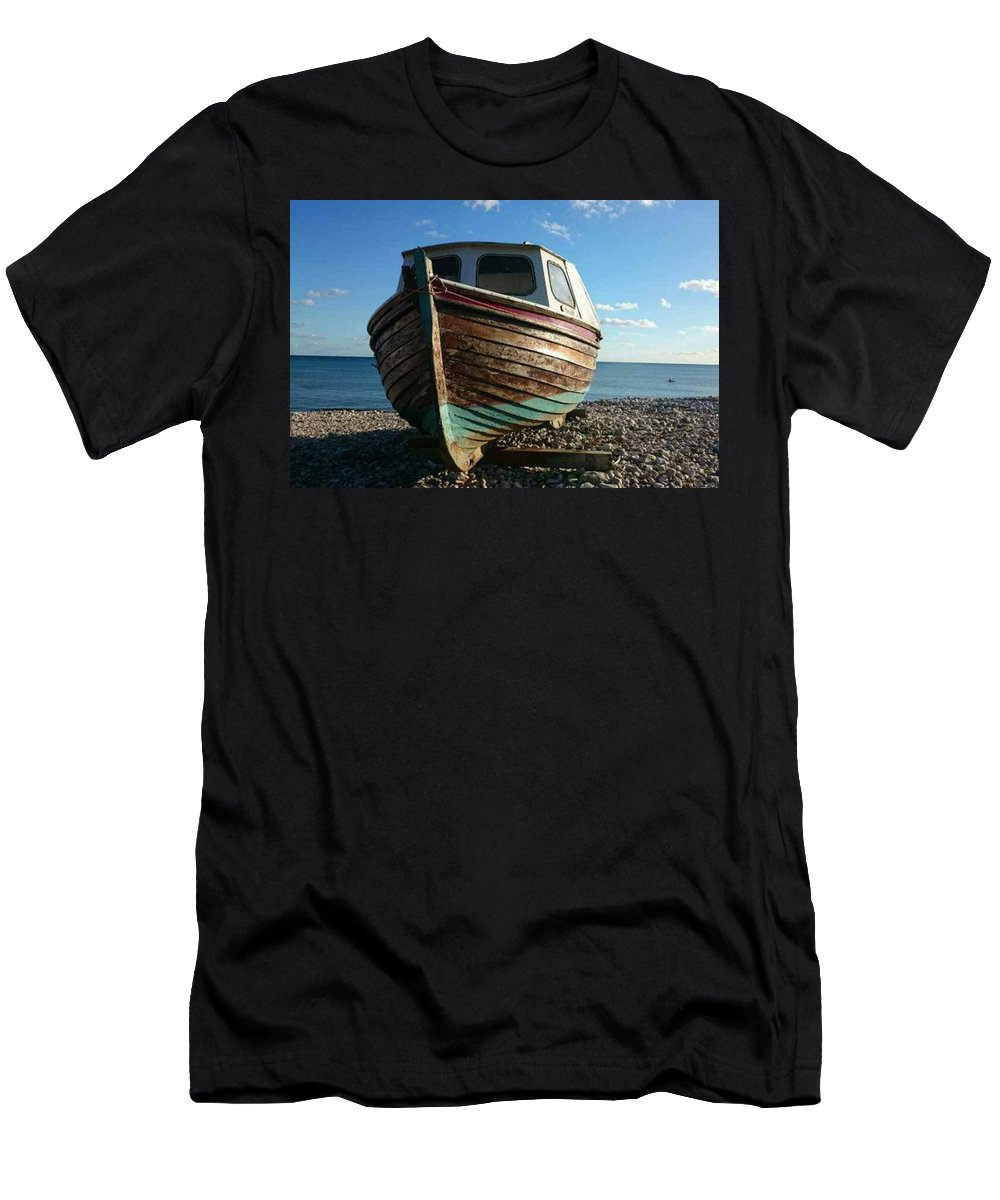 Budleigh Salterton Men's T-Shirt (Athletic Fit) featuring the photograph Wooden Boat by Claire Green