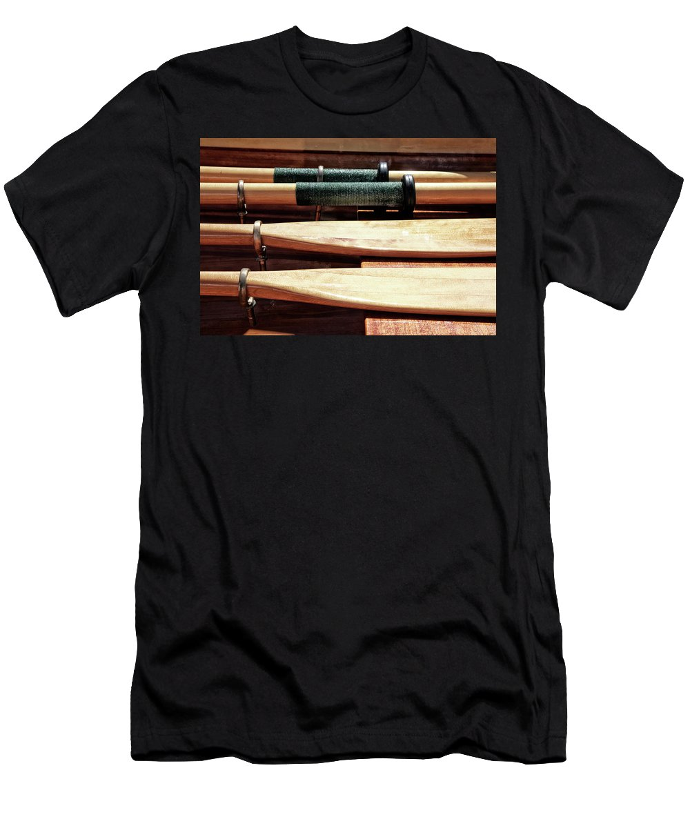 Wooden Men's T-Shirt (Athletic Fit) featuring the photograph Wooden Oar Pattern by Savanah Plank