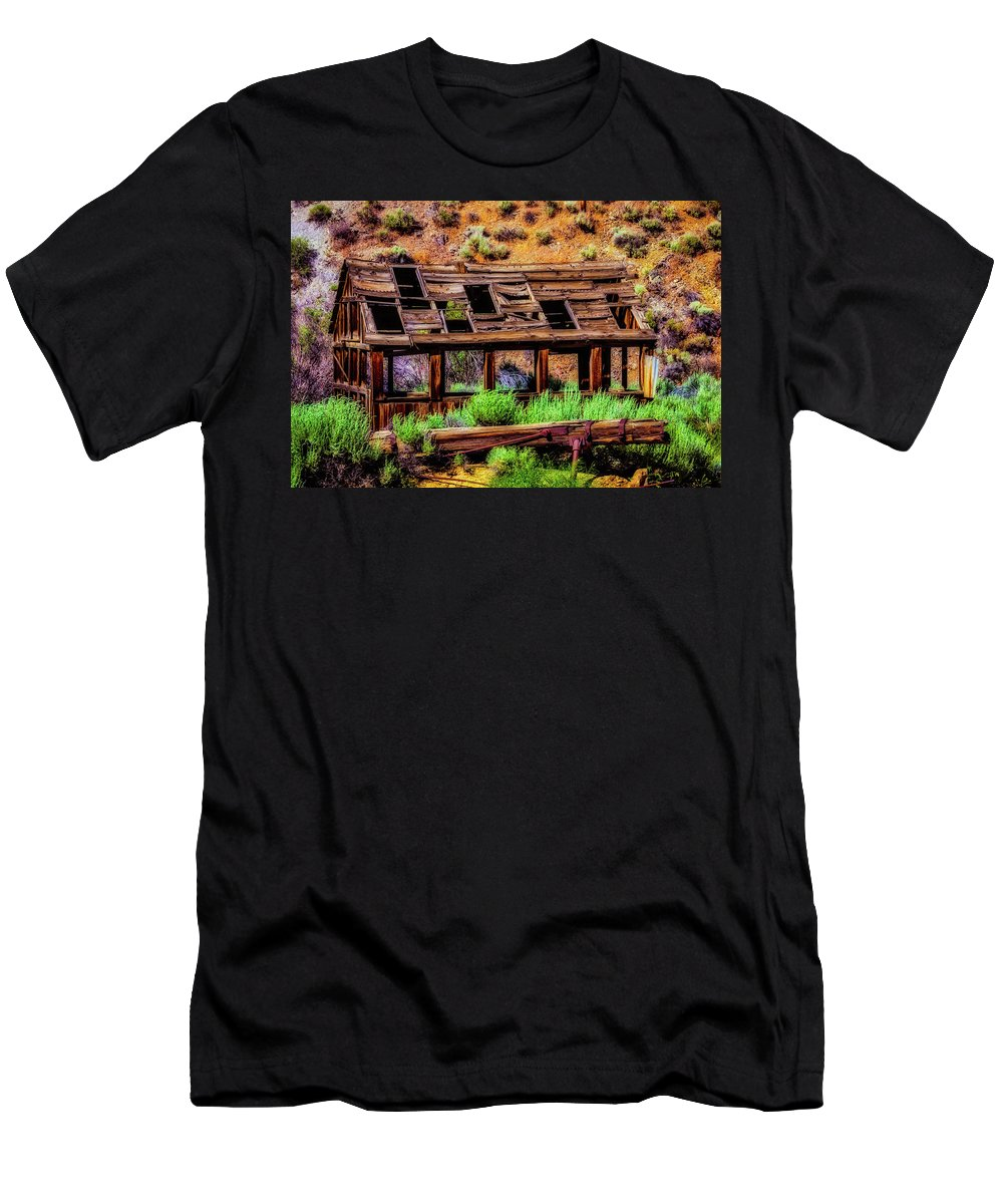 Old Men's T-Shirt (Athletic Fit) featuring the photograph Wooden Shack by Garry Gay