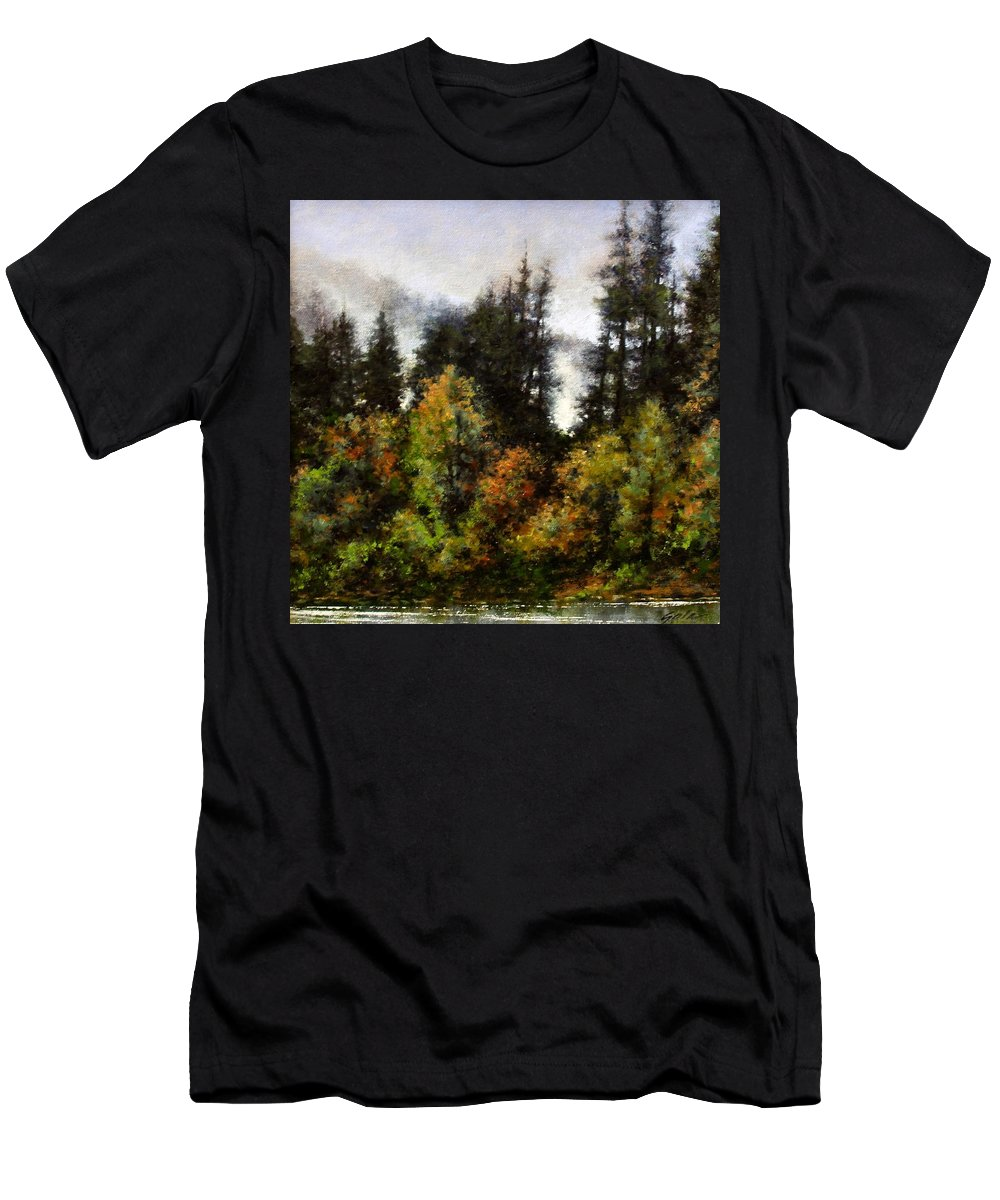 Painting Men's T-Shirt (Athletic Fit) featuring the painting Woodland Bottoms In April by Jim Gola