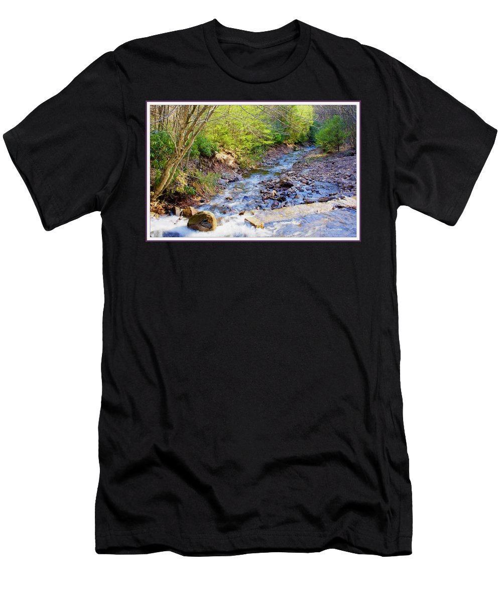 Woodland Men's T-Shirt (Athletic Fit) featuring the photograph Woodland Stream And Waterfall, Hickory Run, Pocono Mountains by A Gurmankin