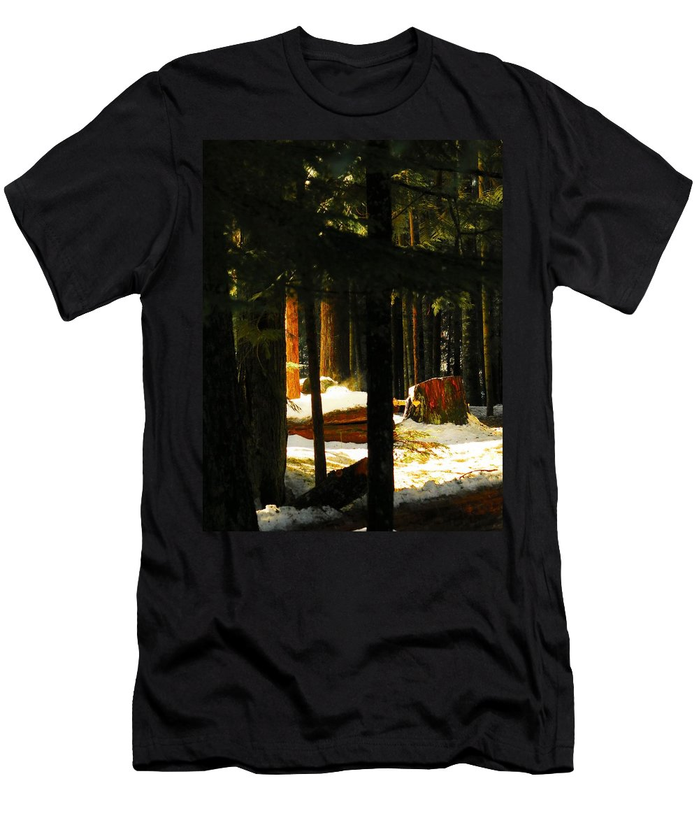Nature Men's T-Shirt (Athletic Fit) featuring the photograph Woods by Lisa Spero