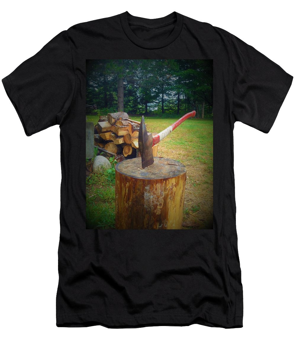 Wood Stove Men's T-Shirt (Athletic Fit) featuring the photograph Woodsman by Amanda Johnson