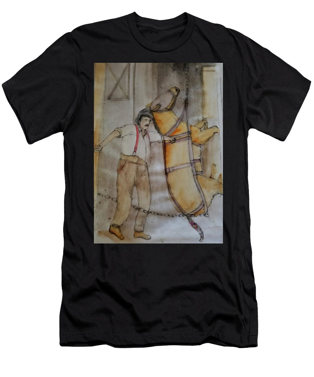 Horses. Mining . Work. Men's T-Shirt (Athletic Fit) featuring the painting Work Not Dance Album by Debbi Saccomanno Chan