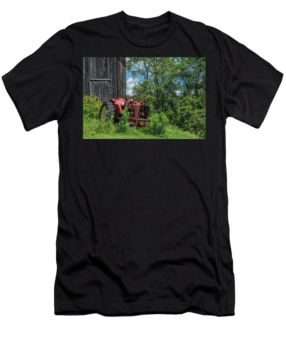 Red Men's T-Shirt (Athletic Fit) featuring the photograph Works Waiting by Rosemary Jardine
