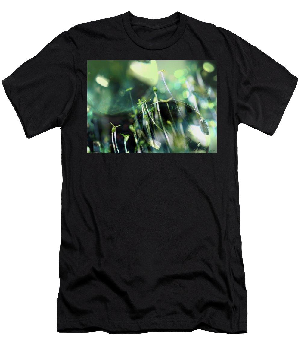 Lauren Radke Men's T-Shirt (Athletic Fit) featuring the photograph Worlds Collide - New Life by Lauren Radke
