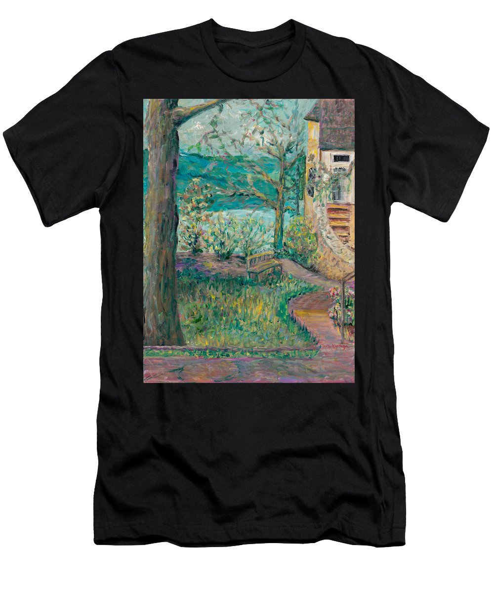 Big Cedar Lodge Men's T-Shirt (Athletic Fit) featuring the painting Worman House At Big Cedar Lodge by Nadine Rippelmeyer