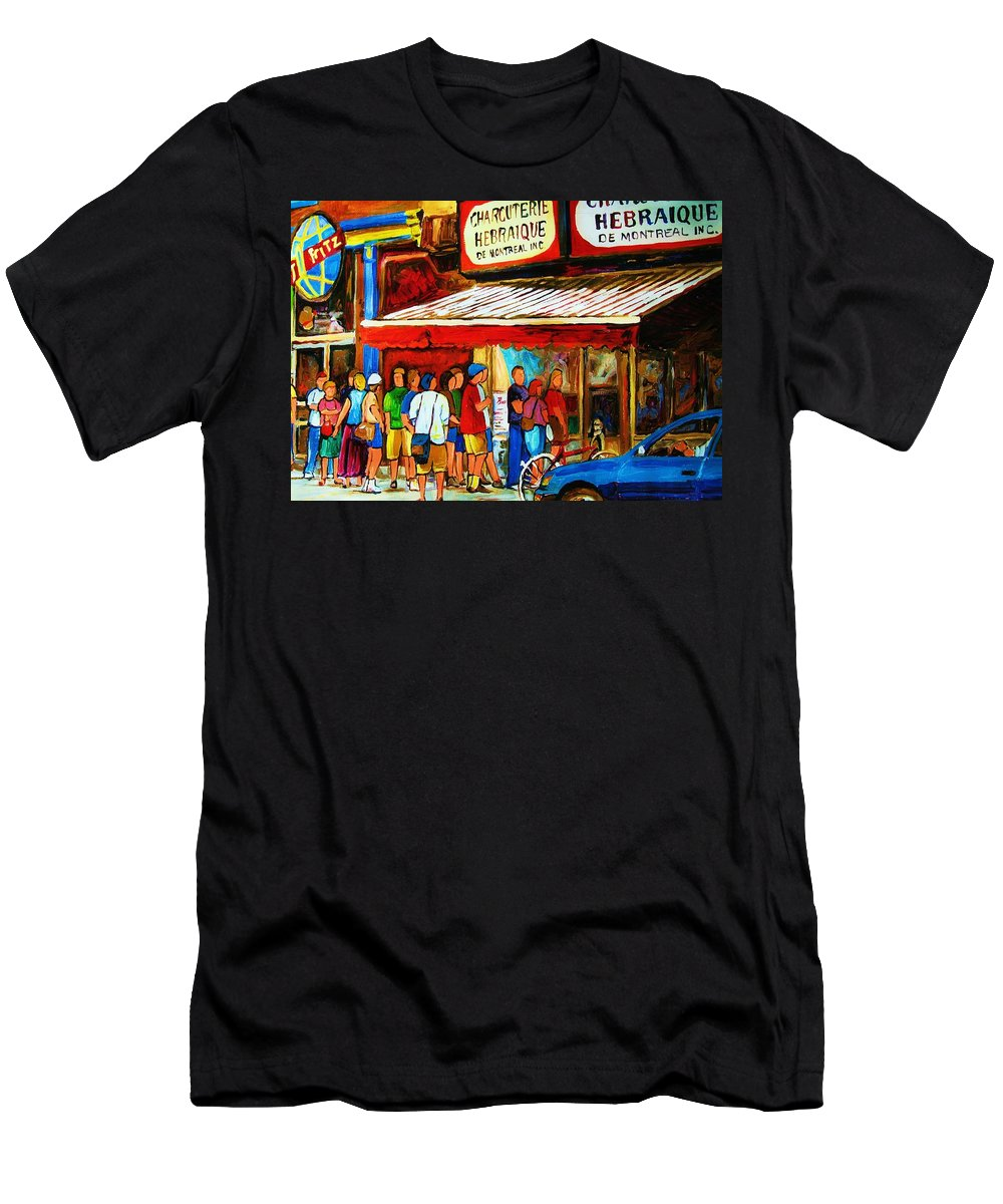 Montreal Streetscenes Men's T-Shirt (Athletic Fit) featuring the painting Worth The Wait by Carole Spandau
