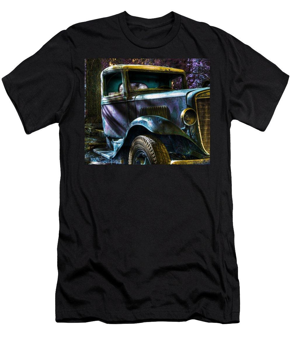 Digital Fantasy Men's T-Shirt (Athletic Fit) featuring the photograph Wrecking Yard Fantasy by Lee Santa