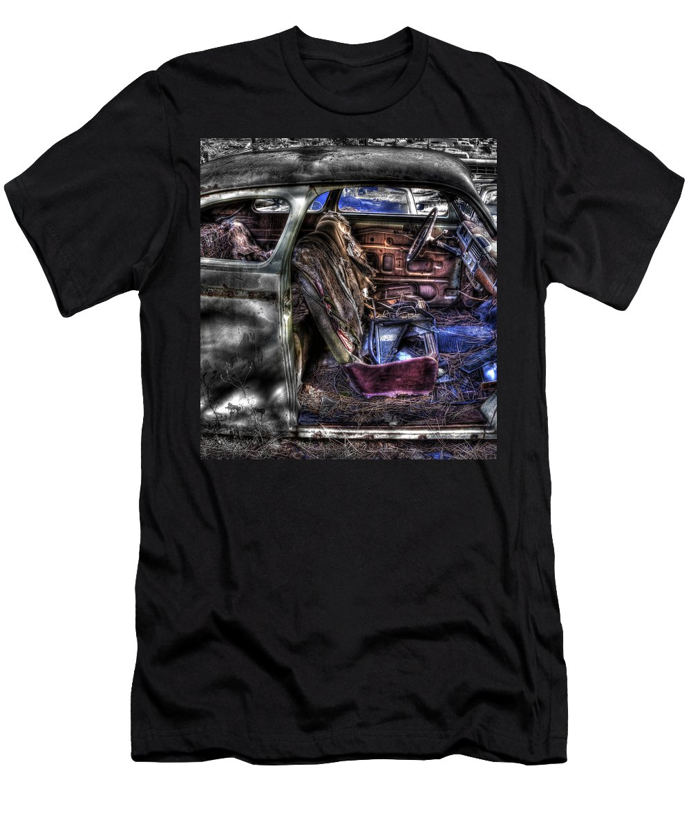 Men's T-Shirt (Athletic Fit) featuring the photograph Wrecking Yard Study 1 by Lee Santa