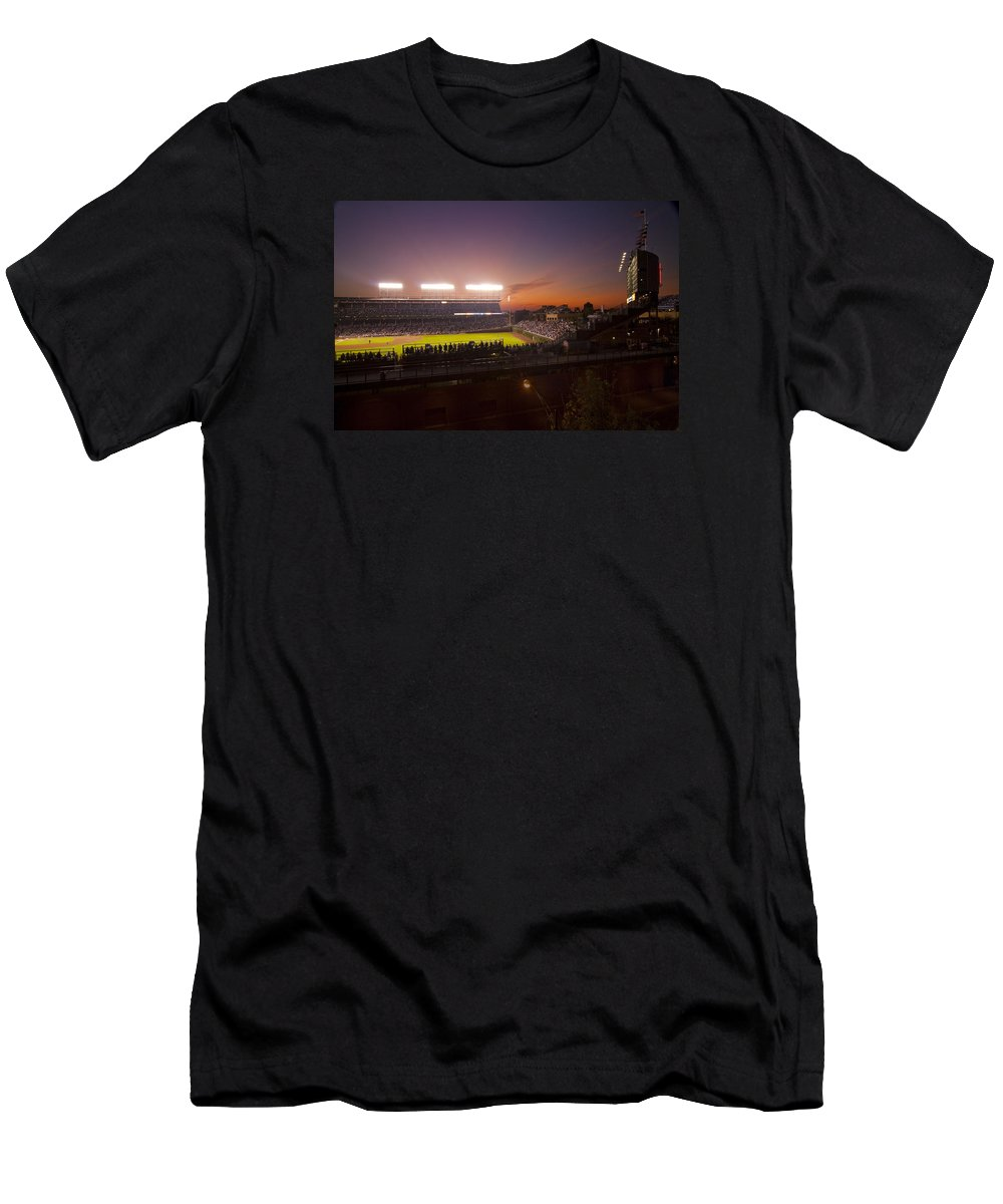 Cubs Men's T-Shirt (Athletic Fit) featuring the photograph Wrigley Field At Dusk by Sven Brogren