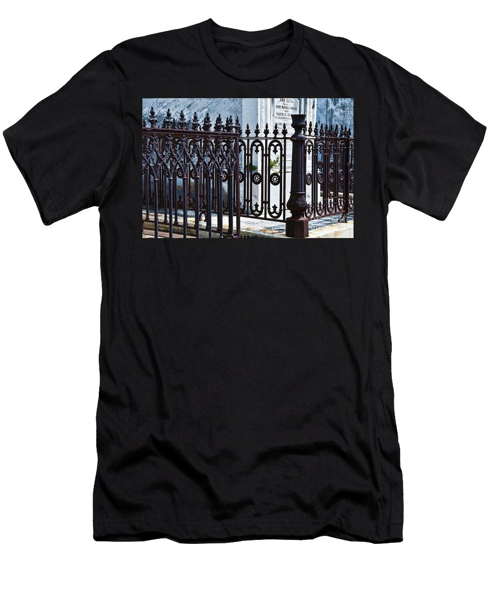 Iron Men's T-Shirt (Athletic Fit) featuring the photograph Wrought Iron Cemetery Fence by Kathleen K Parker