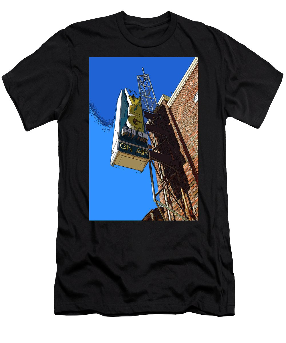 Neon Sign Men's T-Shirt (Athletic Fit) featuring the photograph Wvlg 640am by James Rentz