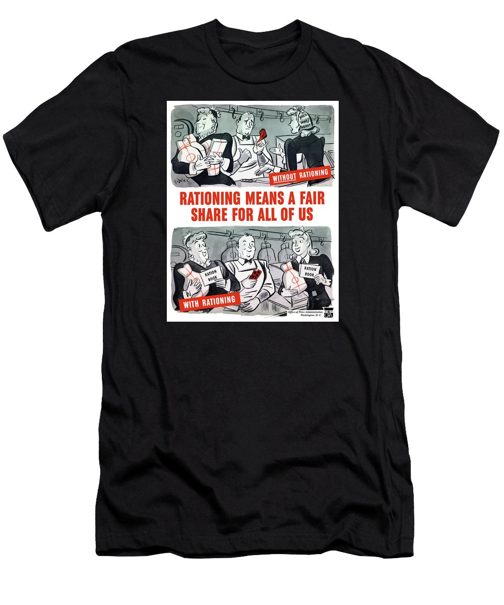 Rationing Men's T-Shirt (Athletic Fit) featuring the painting Ww2 Rationing Cartoon by War Is Hell Store