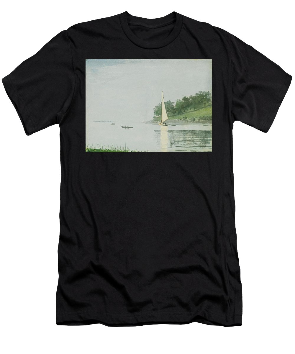 Yacht In A Cove. Gloucester By Winslow Homer Men's T-Shirt (Athletic Fit) featuring the painting Yacht In A Cove by Winslow Homer