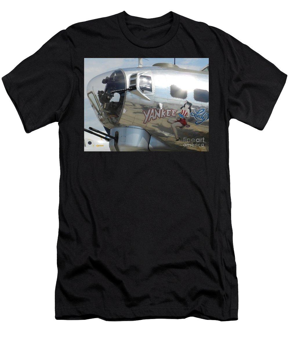 Yankee Lady Nose Art Men's T-Shirt (Athletic Fit) featuring the photograph Yankee Lady Nose Art by Snapshot Studio