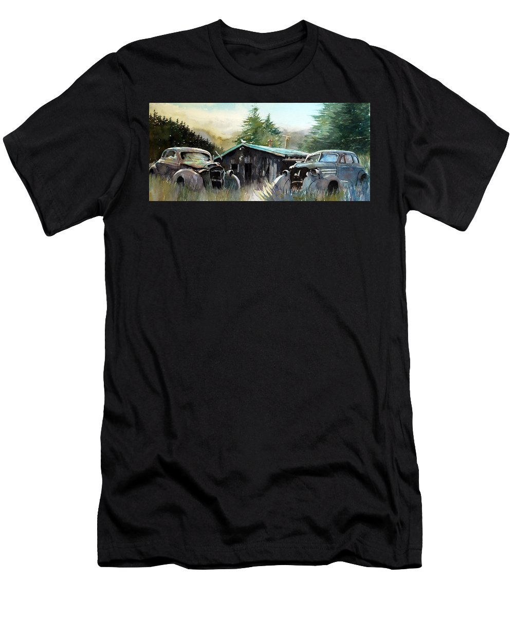 Rusty Cars Men's T-Shirt (Athletic Fit) featuring the painting Yard Mates by Ron Morrison