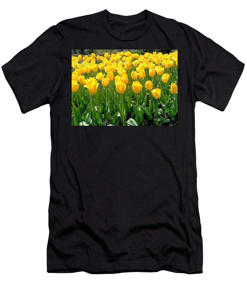 Yellow Men's T-Shirt (Athletic Fit) featuring the photograph Yelllow Tulip Garden by Wendy Yee