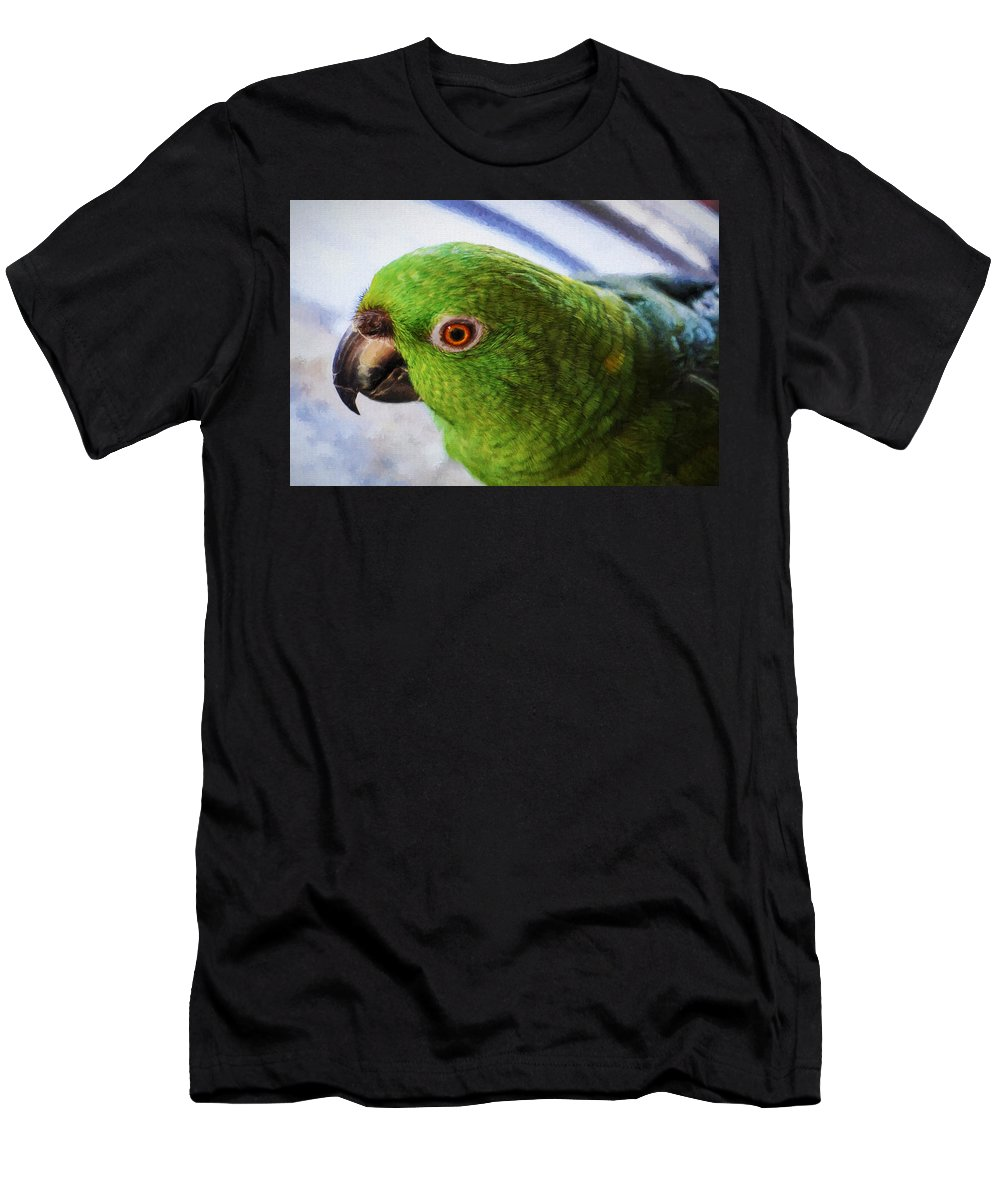 Parrots Men's T-Shirt (Athletic Fit) featuring the photograph Yellow-naped Amazon Parrot Or Amazona A. Auropalliata by Kenneth Roberts