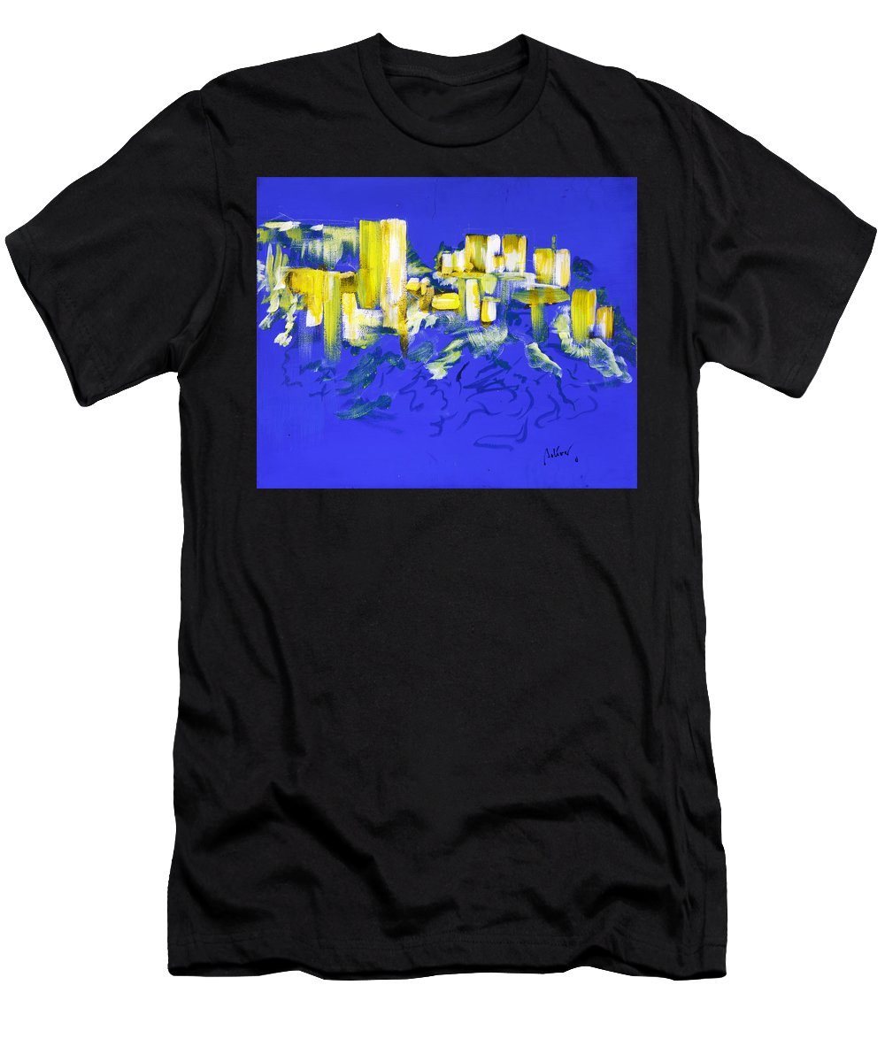 Men's T-Shirt (Athletic Fit) featuring the painting Yellow And Blue by Fernando Bolivar
