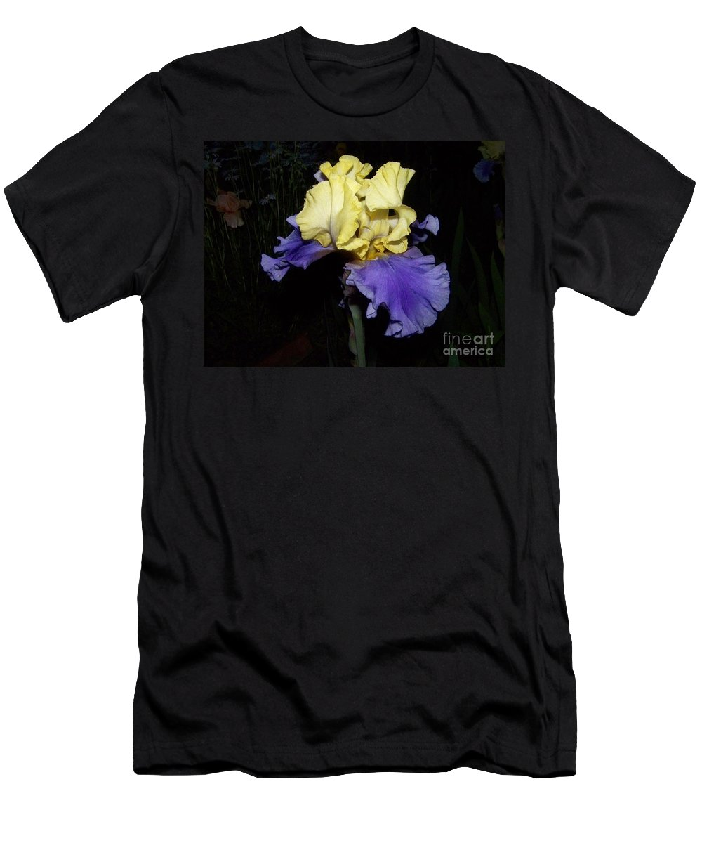 Iris Men's T-Shirt (Athletic Fit) featuring the photograph Yellow And Blue Iris by Kathy McClure