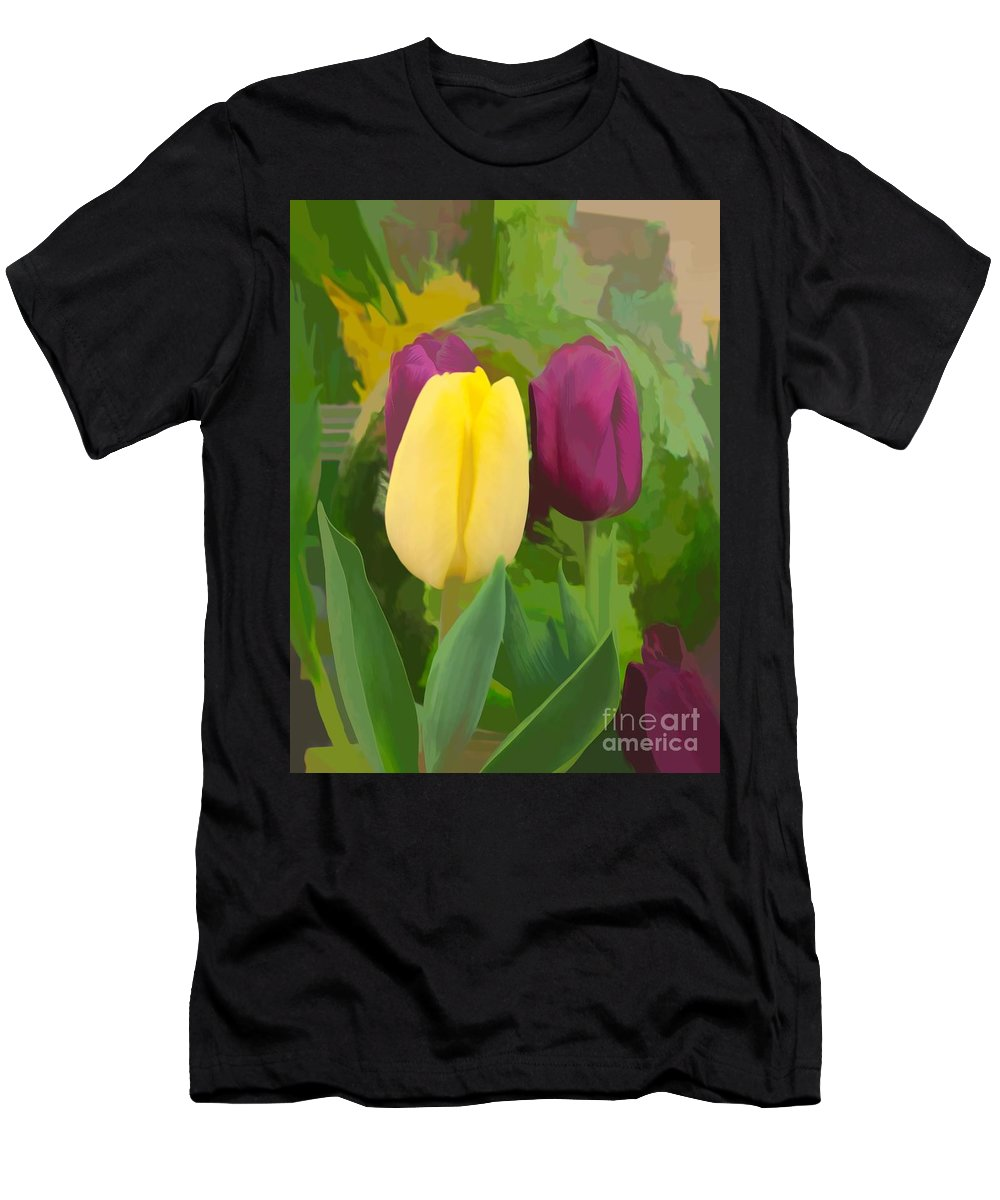 Tulip Men's T-Shirt (Athletic Fit) featuring the photograph Yellow And Purple Tuilps by Luther Fine Art