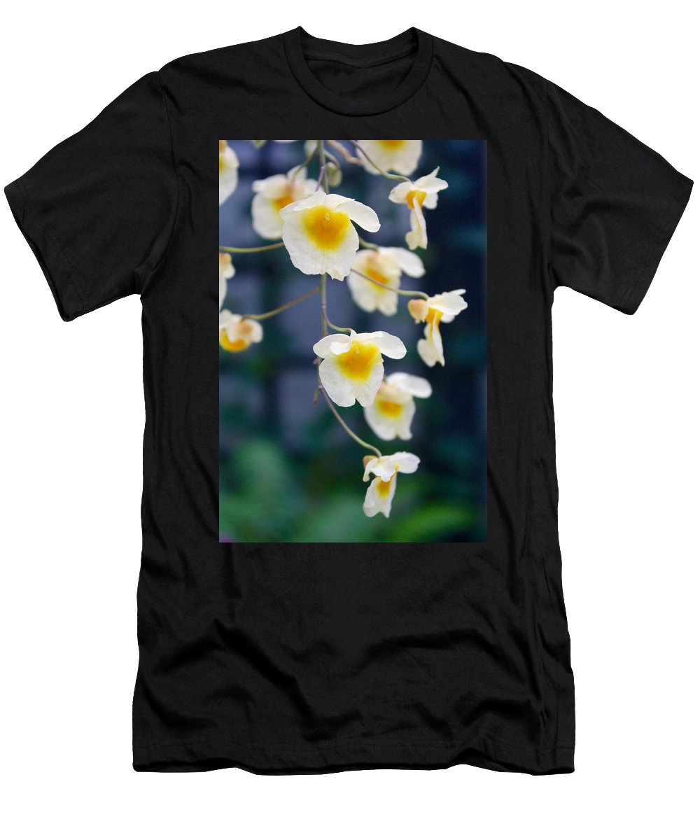 Flower Men's T-Shirt (Athletic Fit) featuring the photograph Yellow And White Cascading Flowers by Devon Kotke