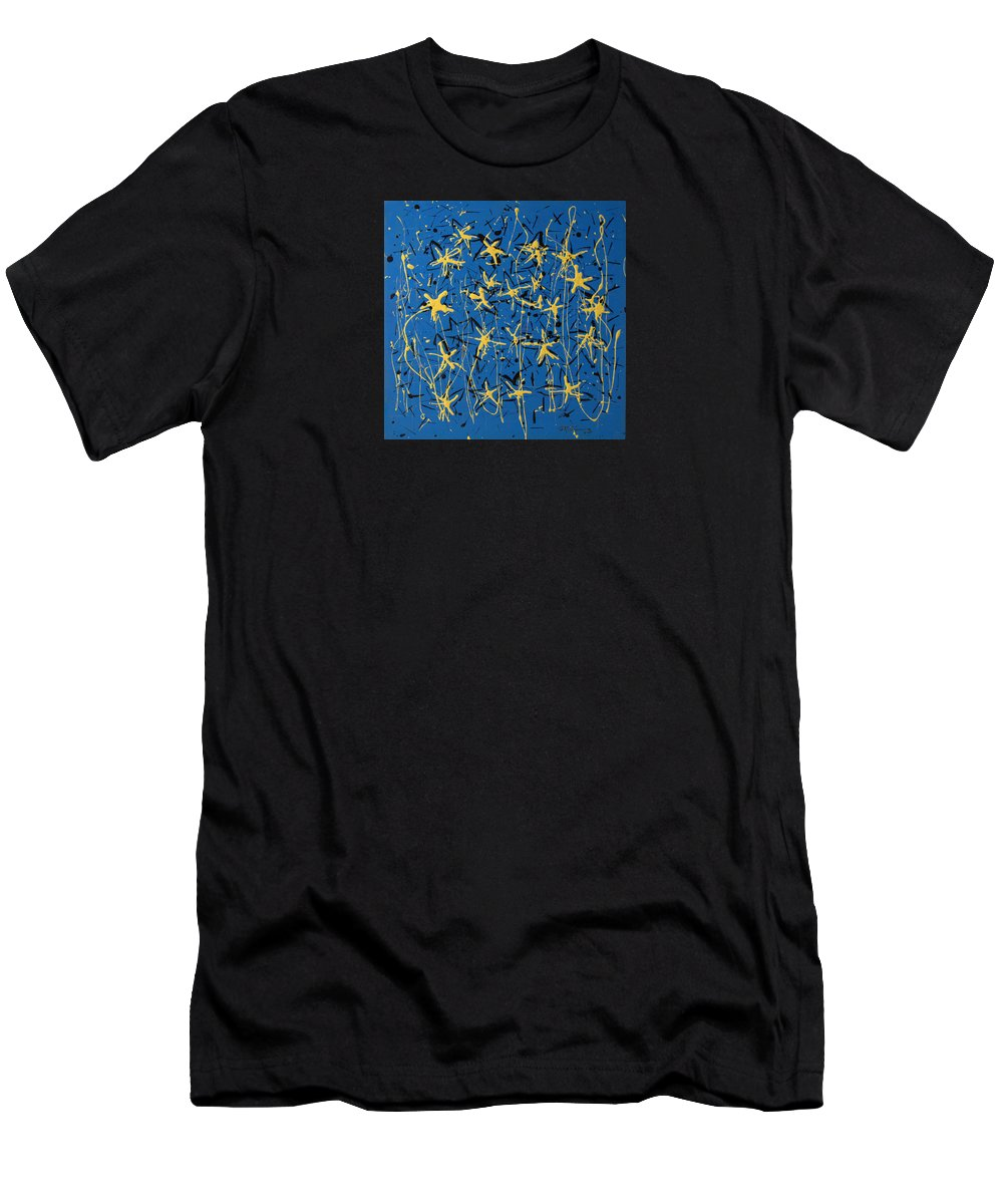Abstract Painting Men's T-Shirt (Athletic Fit) featuring the painting Yellow Blue by J R Seymour