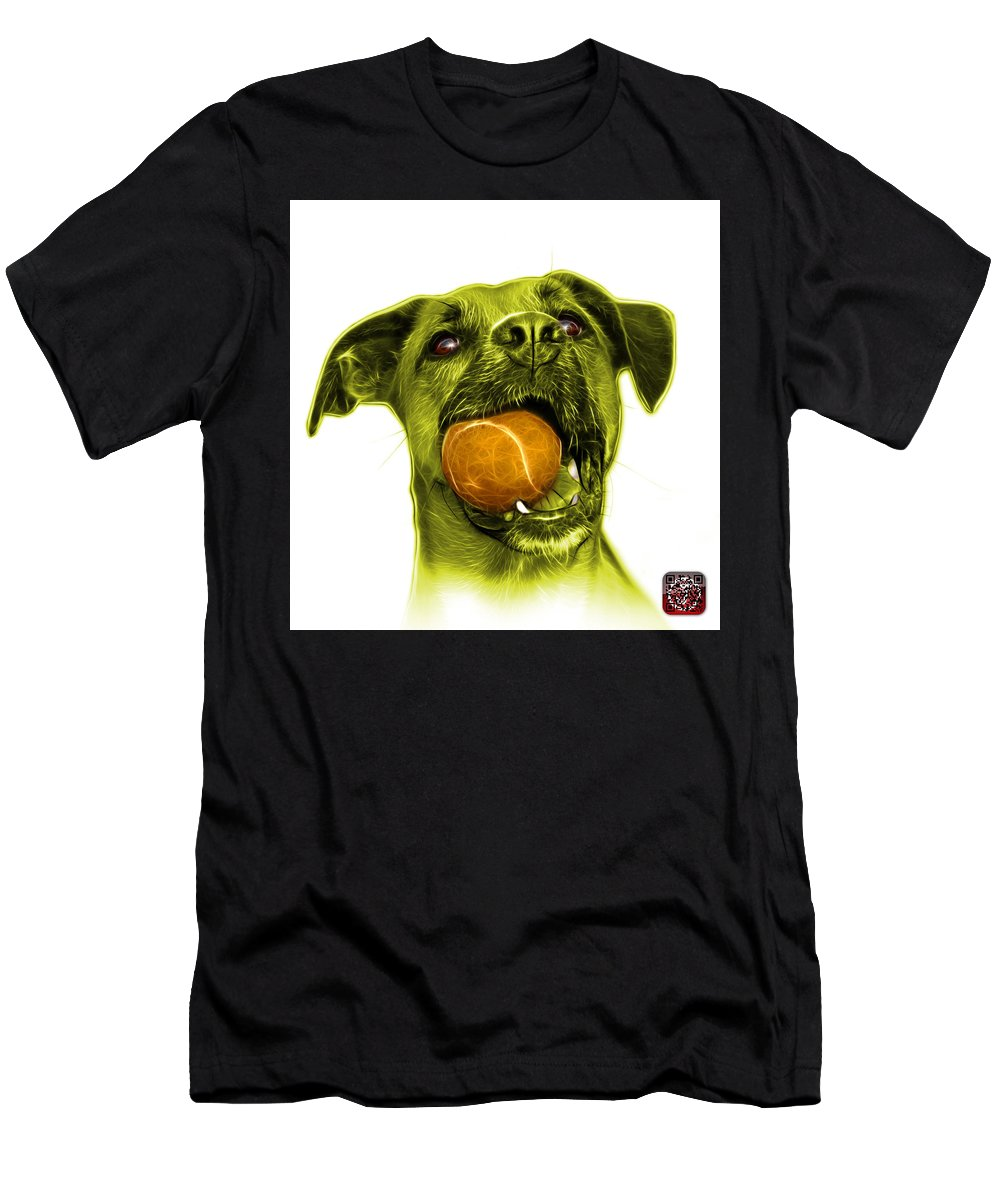 Dog Men's T-Shirt (Athletic Fit) featuring the mixed media Yellow Boxer Mix Dog Art - 8173 - Wb by James Ahn