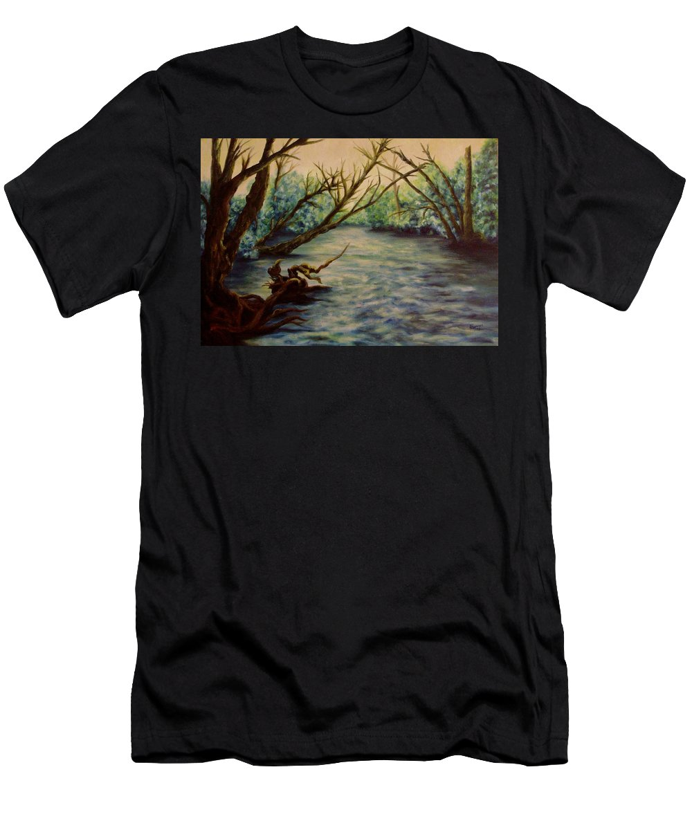 Creek Men's T-Shirt (Athletic Fit) featuring the painting Yellow Breeches Creek Pennsylvania by Joann Renner
