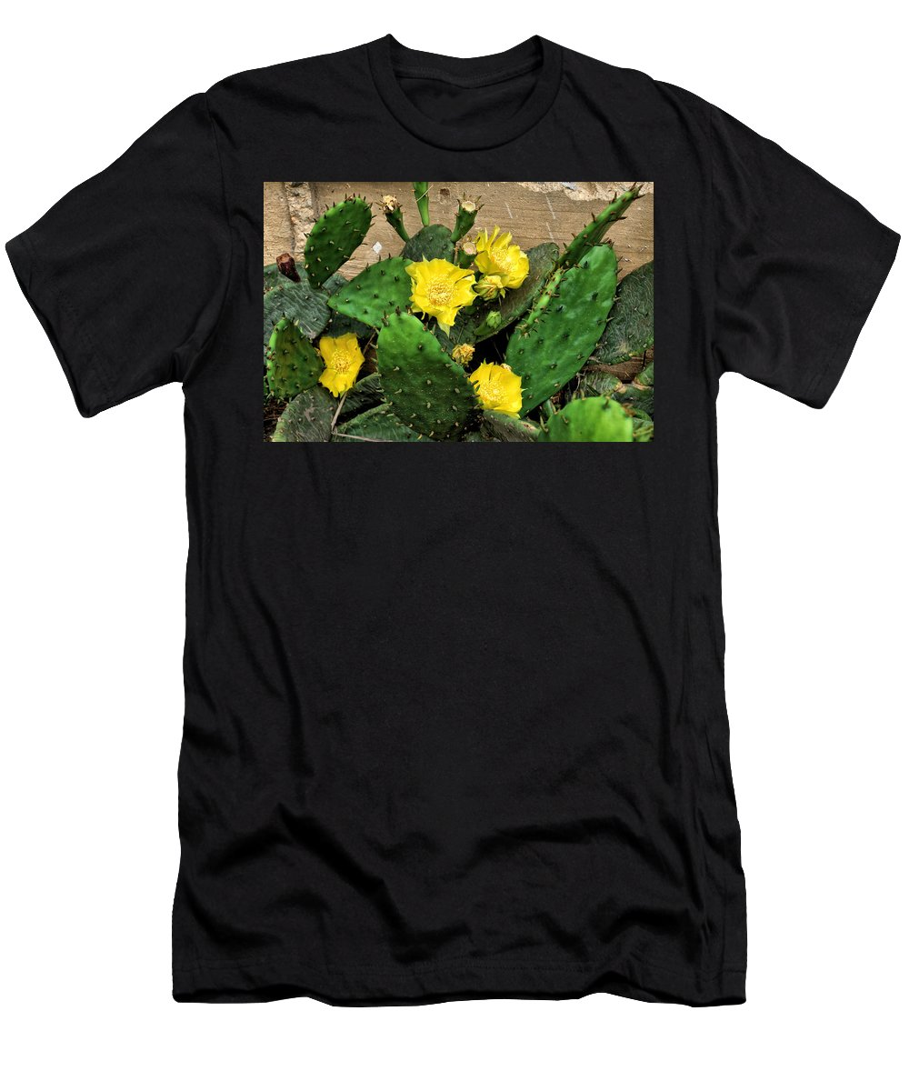 Flowers Men's T-Shirt (Athletic Fit) featuring the photograph Yellow Cactus Flowers by John Trommer