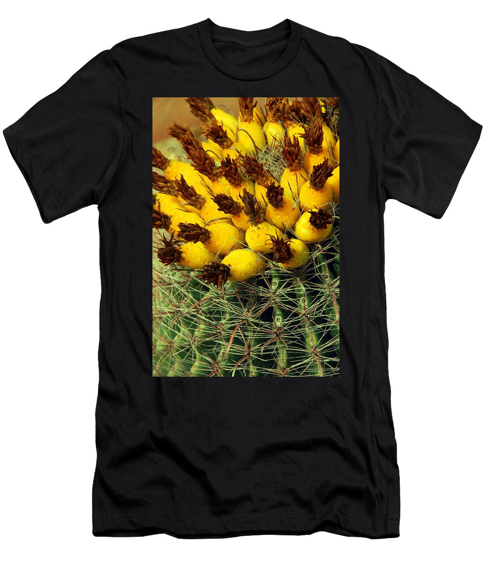 Cactus Men's T-Shirt (Athletic Fit) featuring the photograph Yellow Cactus by Susanne Van Hulst