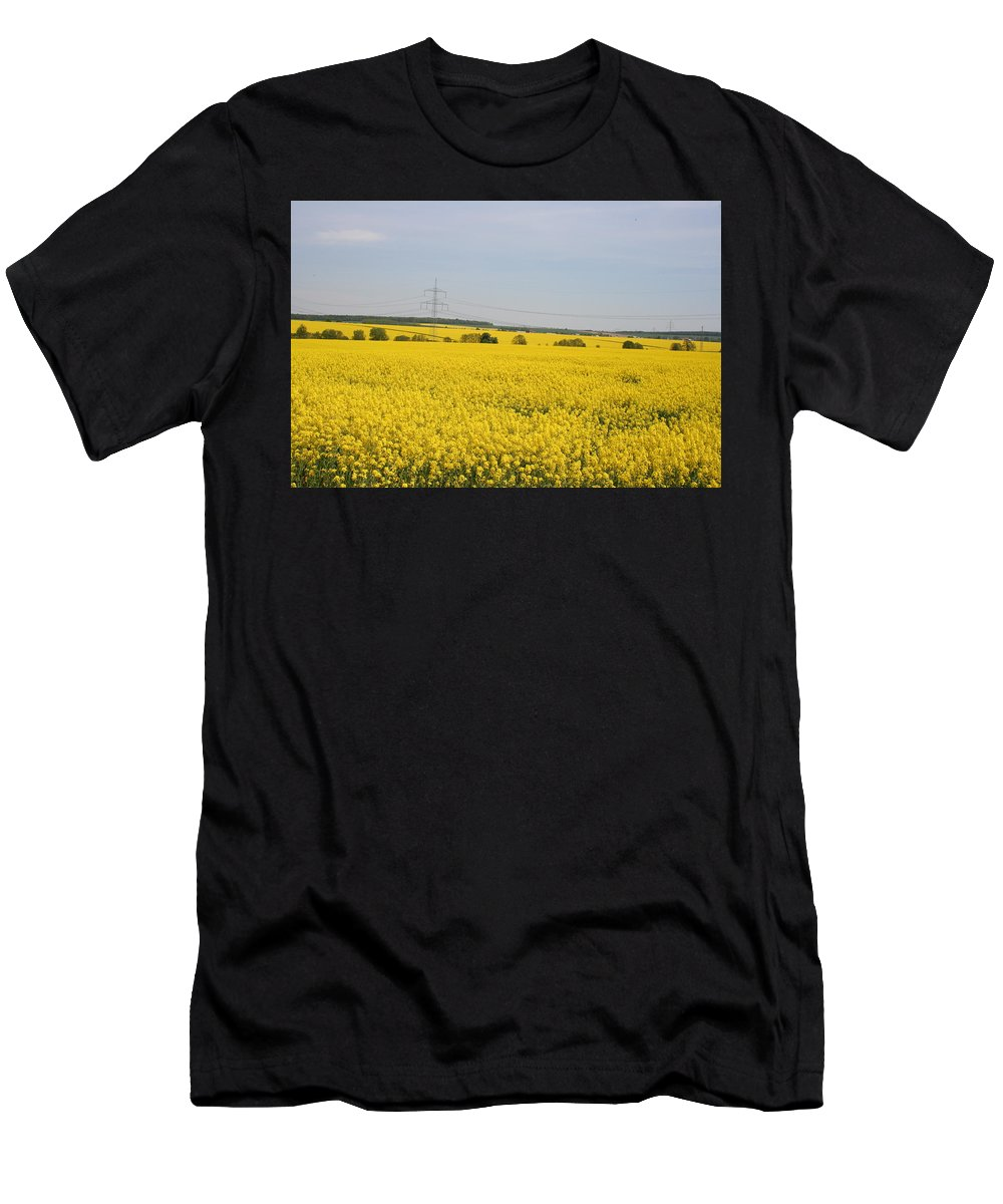 Canola Field Men's T-Shirt (Athletic Fit) featuring the photograph Yellow Canola Field by Christiane Schulze Art And Photography