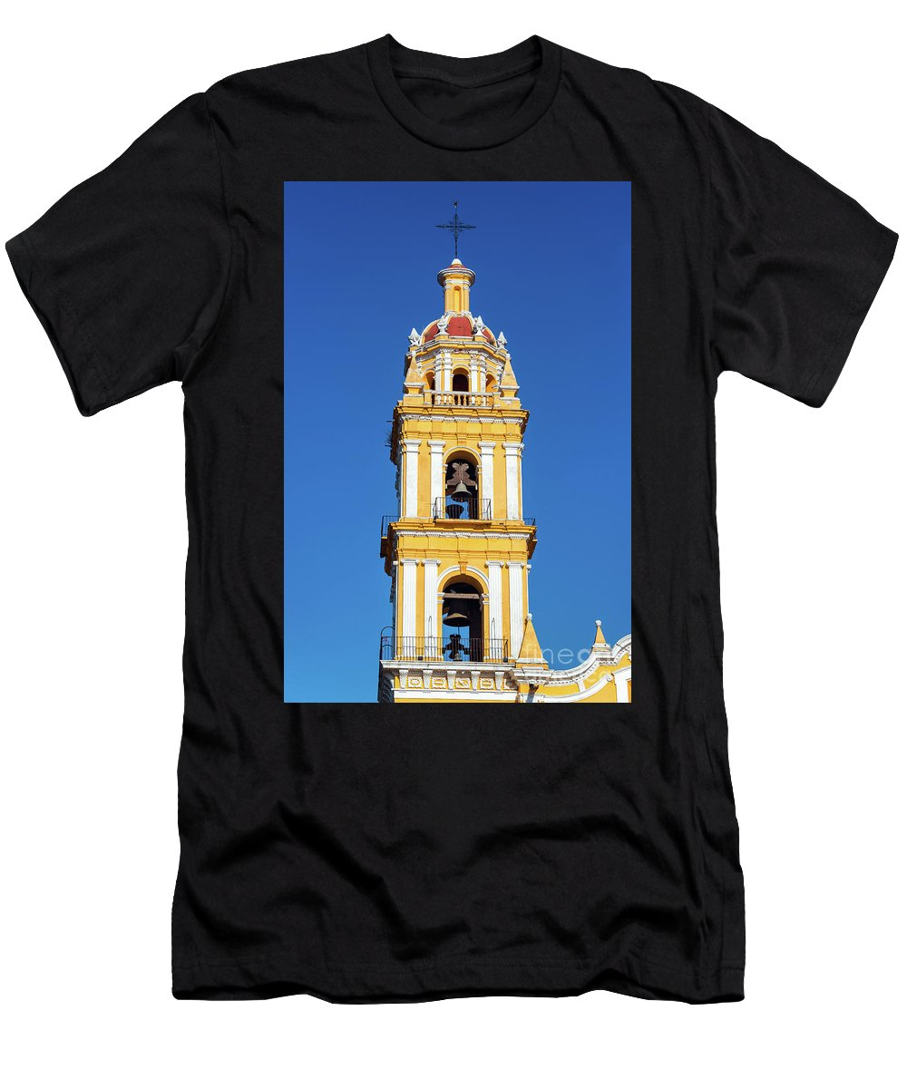 Mexico Men's T-Shirt (Athletic Fit) featuring the photograph Yellow Church And Blue Sky by Jess Kraft