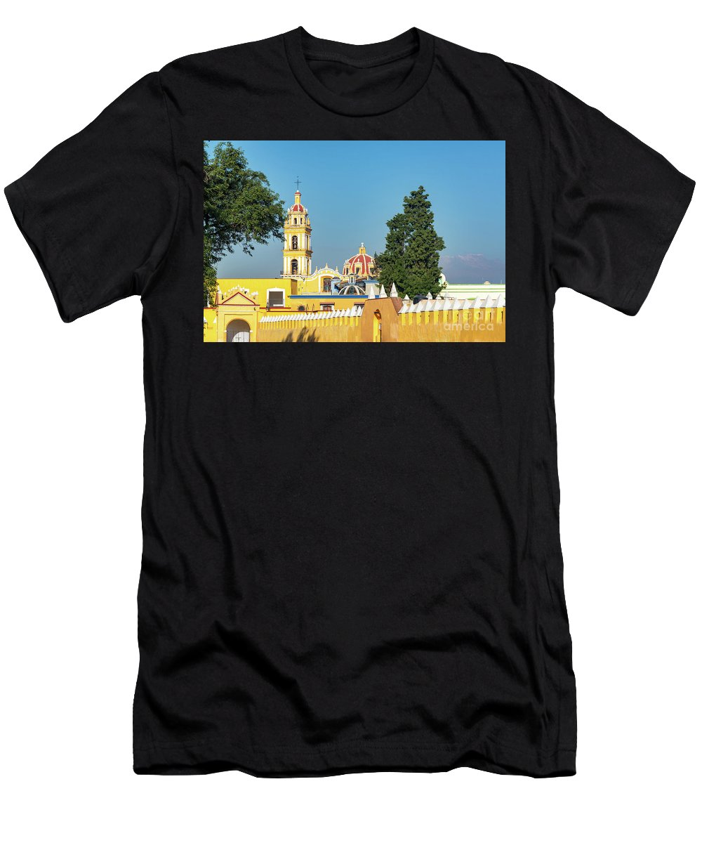 Mexico Men's T-Shirt (Athletic Fit) featuring the photograph Yellow Church In Cholula, Mexico by Jess Kraft