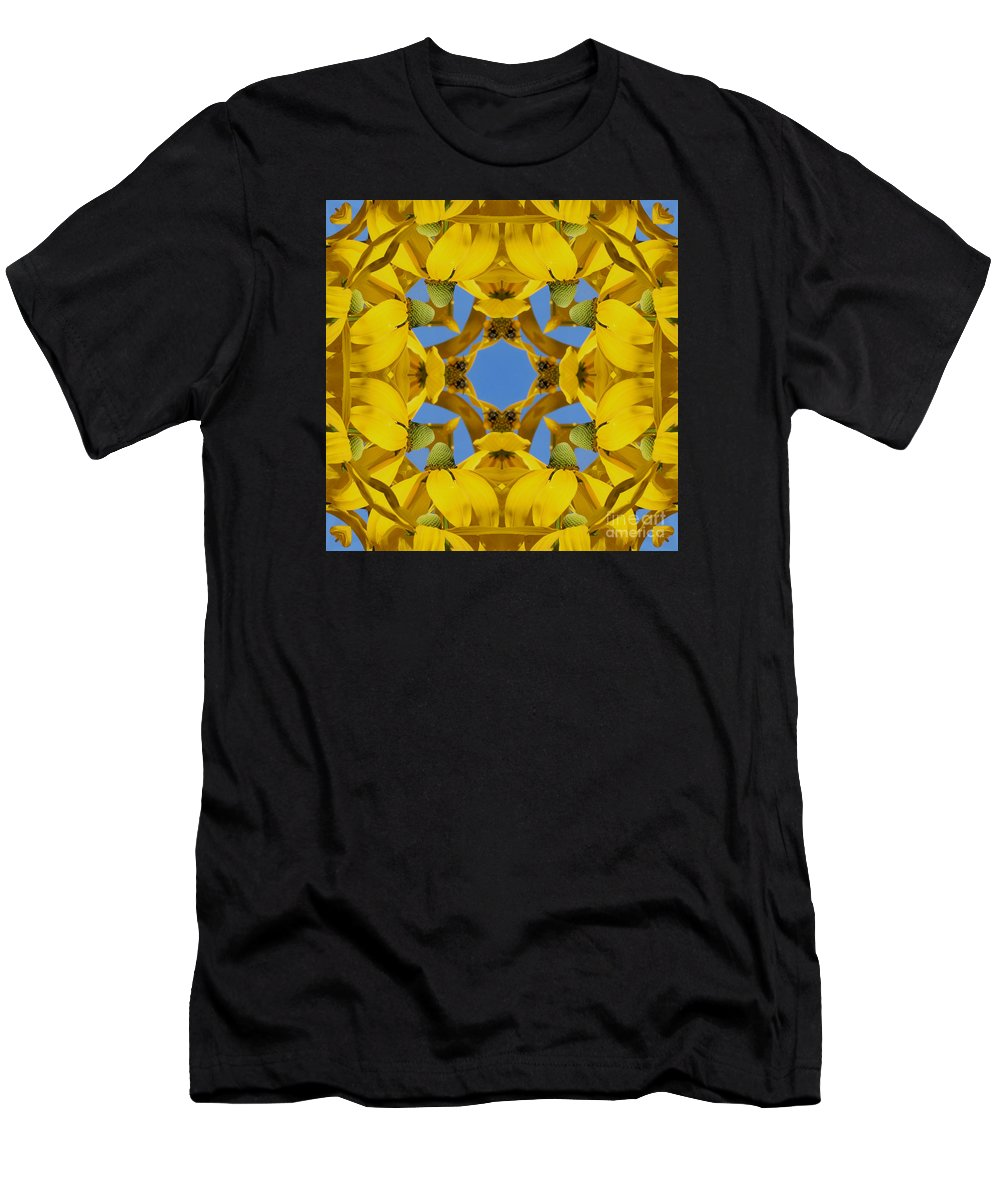 Kaleidoscope Men's T-Shirt (Athletic Fit) featuring the photograph Yellow Coneflower Kaleidoscope by Smilin Eyes Treasures