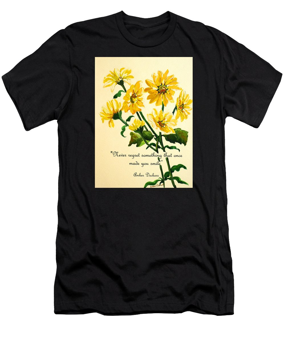 Yellow Daisies Painting Men's T-Shirt (Athletic Fit) featuring the painting Yellow Daisies .. Poem by Karin Dawn Kelshall- Best